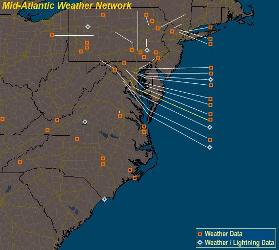 Mesomap of Mid-Atlantic Weather Network Stations